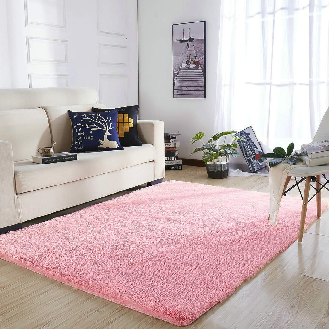 YOH Super Soft Area Rugs(3rd Generation) Fluffy Shaggy Rugs for Bedroom Living Room Kids Room Nursery Home Decor 4 Feet by 5.3 Feet,Pink