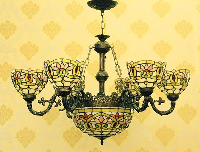 Amazon.com: Makenier clásico Estilo Tiffany vidrieras Flor ...