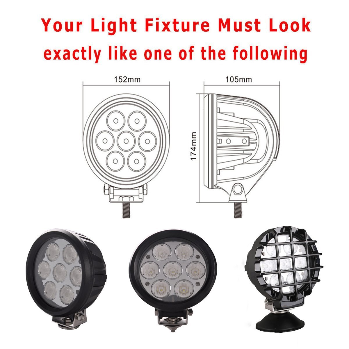Lightronic 2PCS 6 LED lens Covers For 70W Auxiliary LED Lights