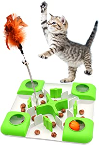 AQluming Slow Feeder Cat Bowl Interactive Cat Toy, Interactive Treat Maze & Puzzle Feeder for Cats - Slow Feed Maze Activity Toy for Healthy Eating Diet