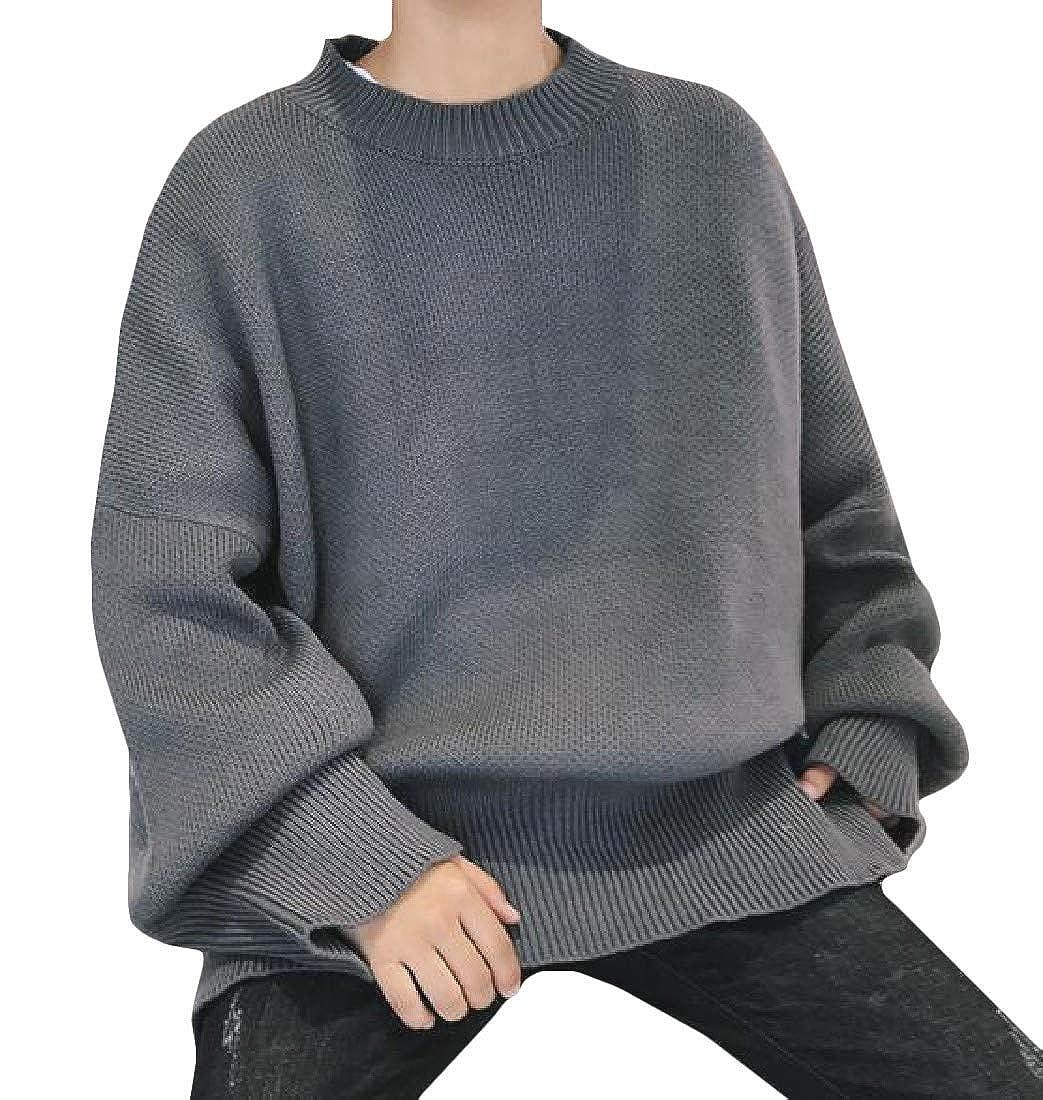 XTX Men Crew Neck Knits Oversized Drop Shoulder Pullover Jumper Sweaters