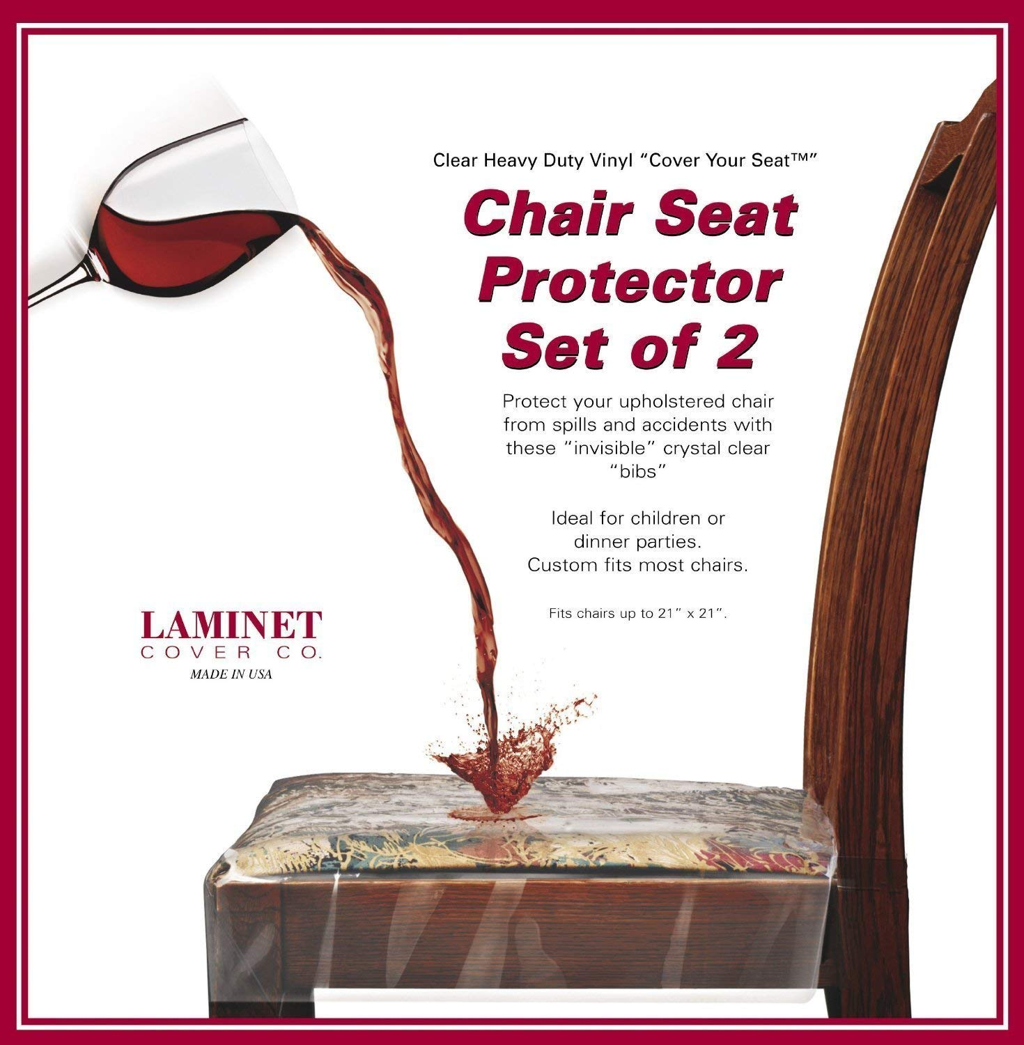 Clear Vinyl Chair Protectors Fits Chairs up to 21 Inches by 21 Inches - Set of 4 (Clear) Laminet