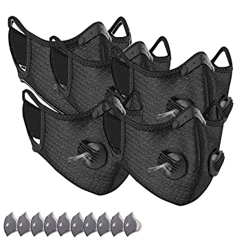 НŒðšð¬ð¤ Sport 5pc Face Covering Respirator With Breathing Valve With 10 Filters Actived Carbon Anti Dust Pollution Reusable Washable Fashion Protection Mouth Health Bandanas For Women Men Amazon In Beauty