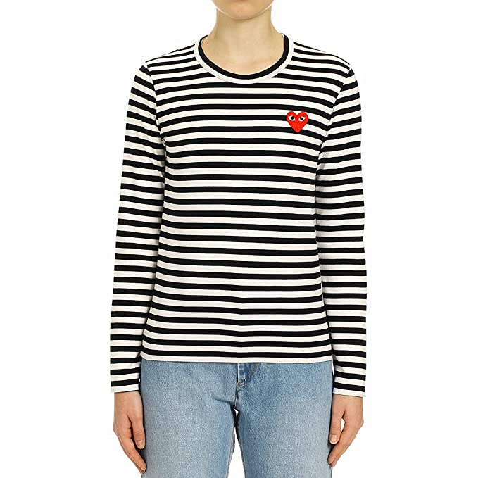 9684cc0dd7 Comme des Garcons Play Women's Red Heart Patch Striped LS T-Shirt P1T163  Black/