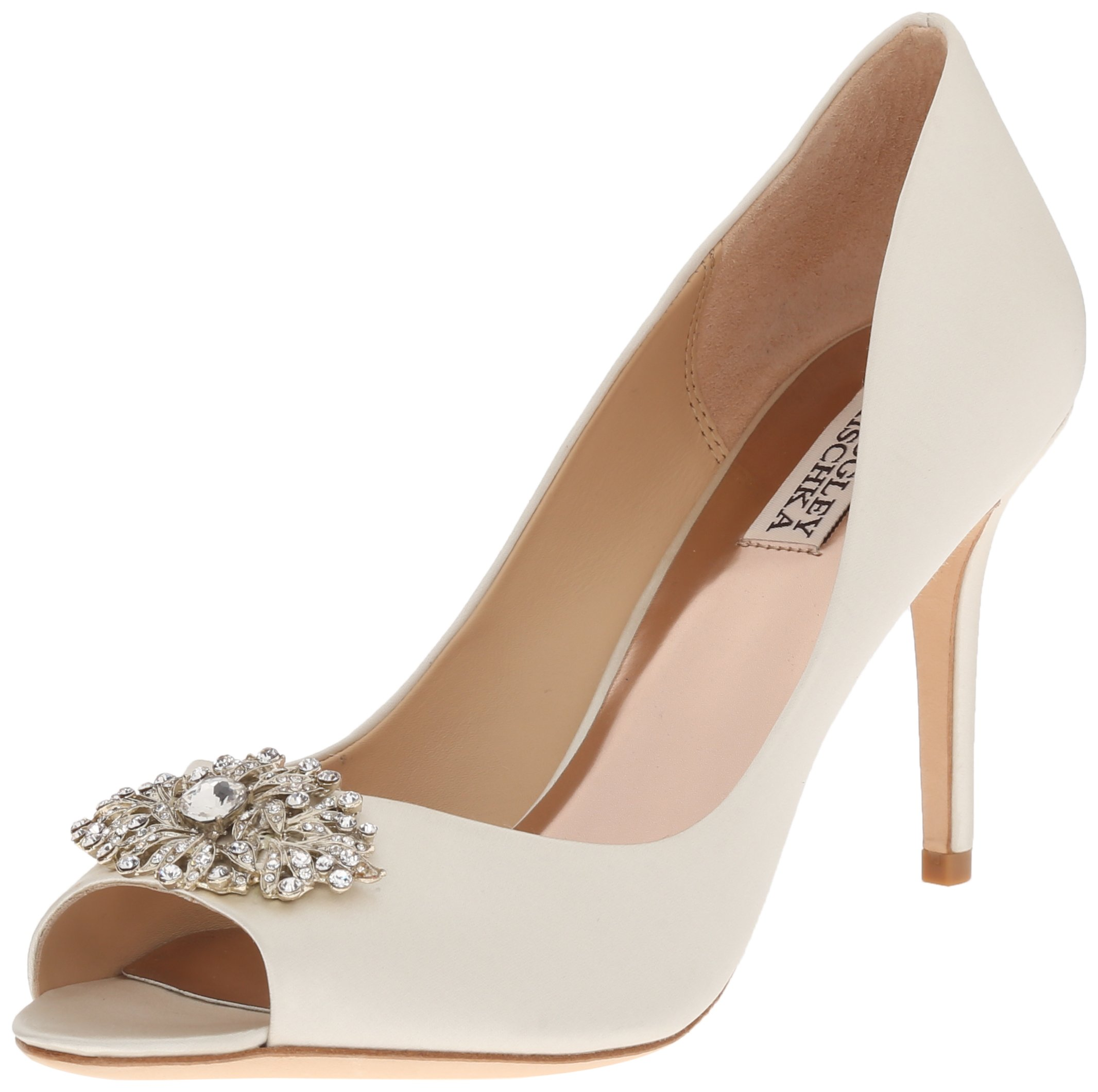 Badgley Mischka Women's Accent Embellished Satin Pump Peep Toe Heel, Ivory, 5 M US by Badgley Mischka