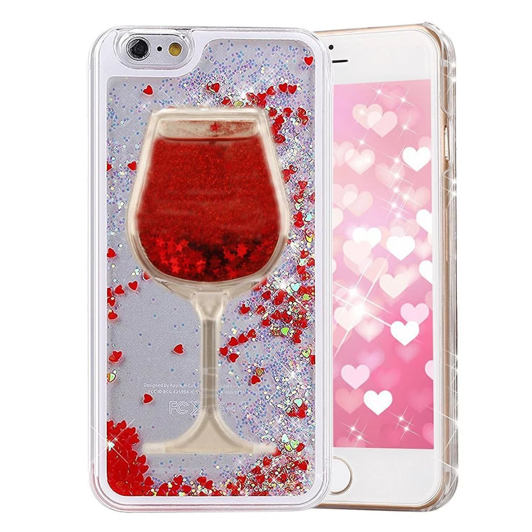 Glitter Bling Hearts Flowing Liquid Heart Clear Hard Case for iPhone 8 Plus Heart Red