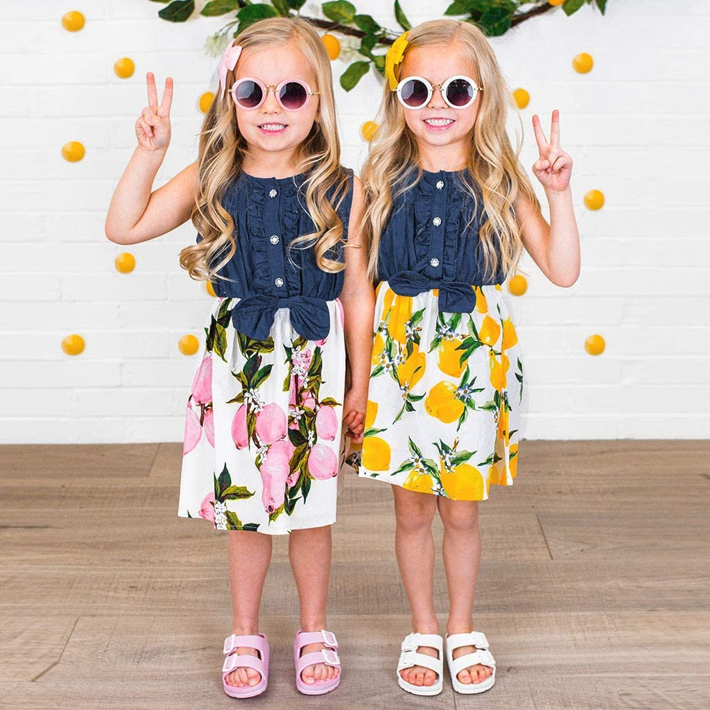 Dinlong Toddler Baby Girls Summer Dress Sleeveless Lemon Peach Print Splice Stylish Denim Dresses