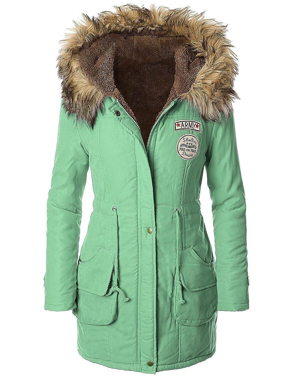 American Trends Women's Faux Fur Lined Hooded Outdoor Winter Parka Coats Long Jacket ACAS8110C0000