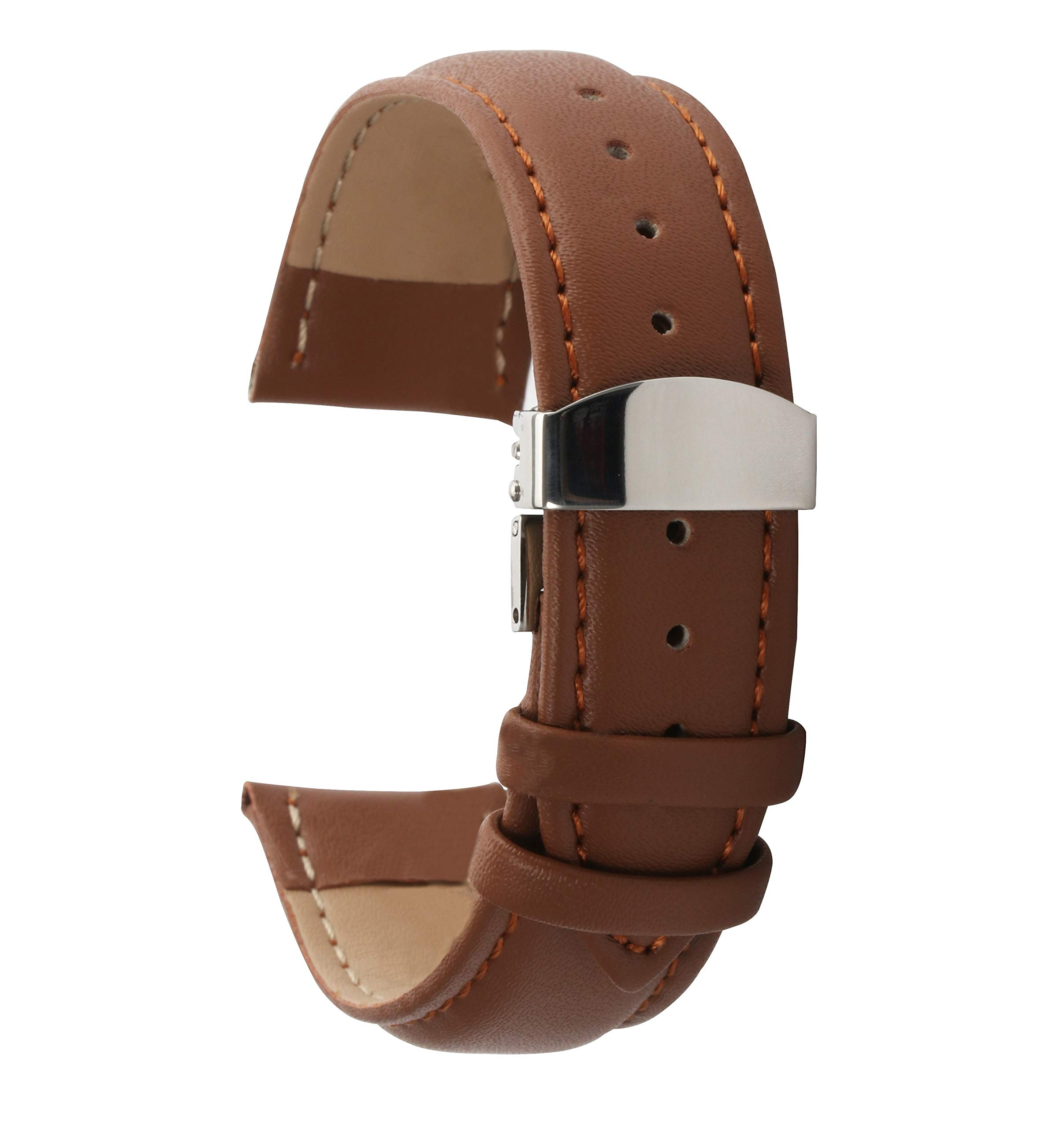 14mm Watch Band for Women Leather Strap Replacement Deployment Buckle