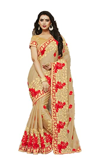 05ef76e97b Amazon.com: Indian Sarees for Women Wedding Designer Party Wear Traditional  Beige Saree.: Clothing