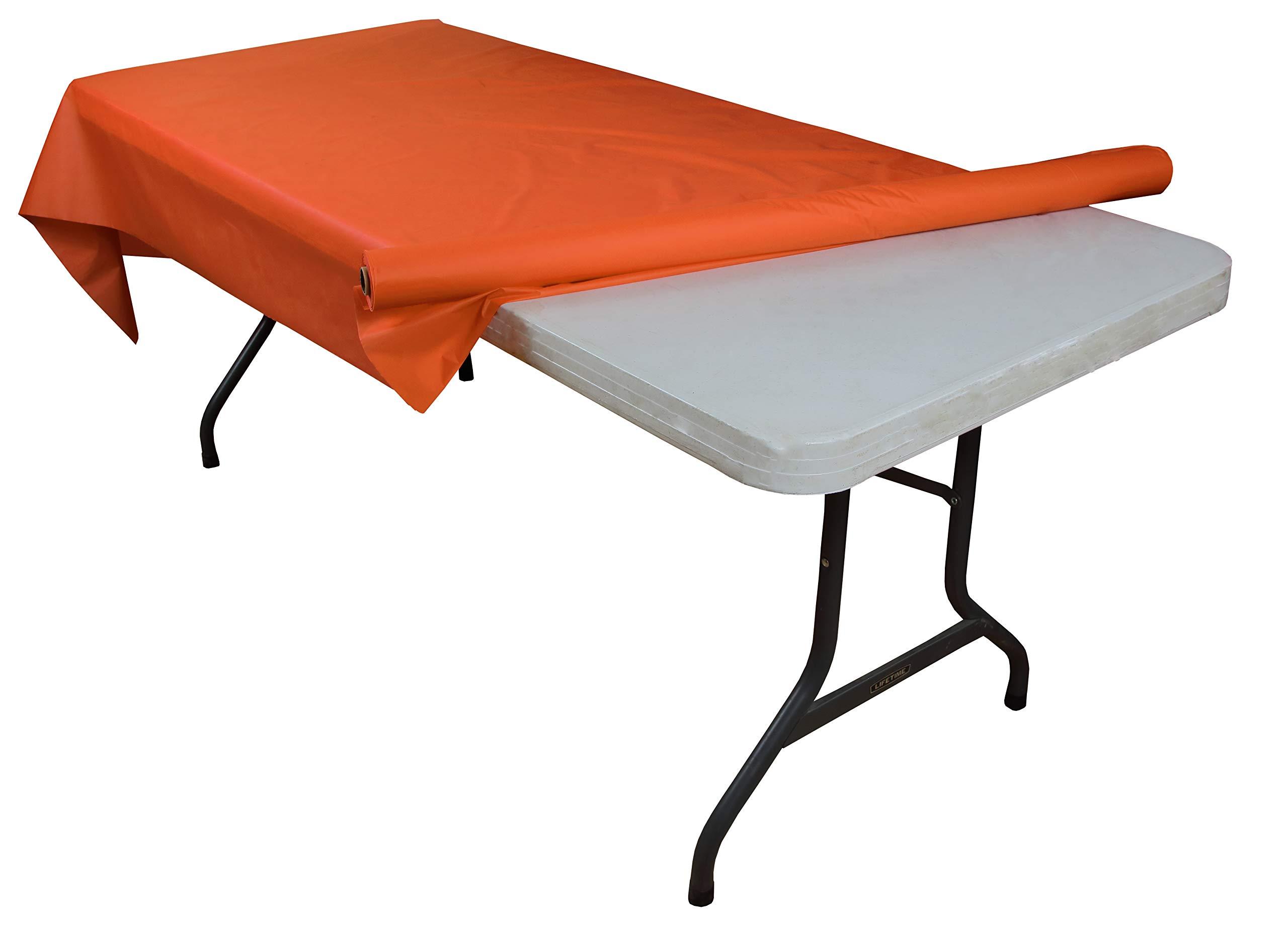 Exquisite Premium Quality Plastic Table Cover Banquet Rolls 40'' X 300' (Orange) by Exquisite