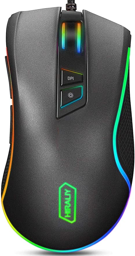 HIRALIY F300 Gaming Mouse Wired 10,000 DPI Adjustable with 16.8 Million Chroma 7
