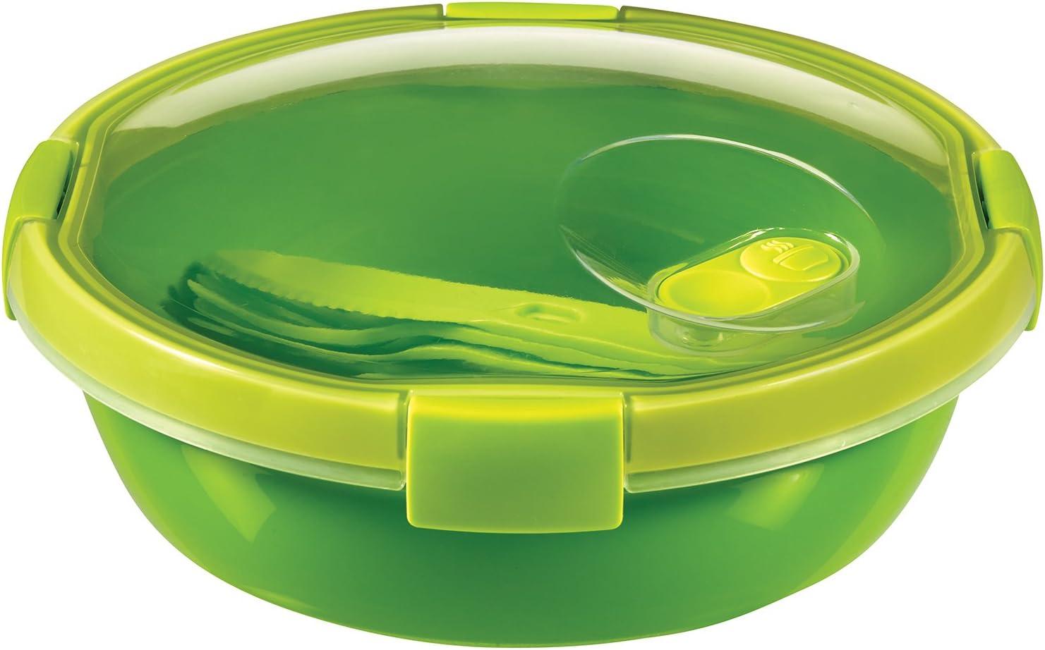 - Con Cubiertos y Salsera herm/ético Smart To Go Lunch Kit Redondo 1,6L Lavavajillas y Congelador Apto para Microondas Curver Color Verde Lima