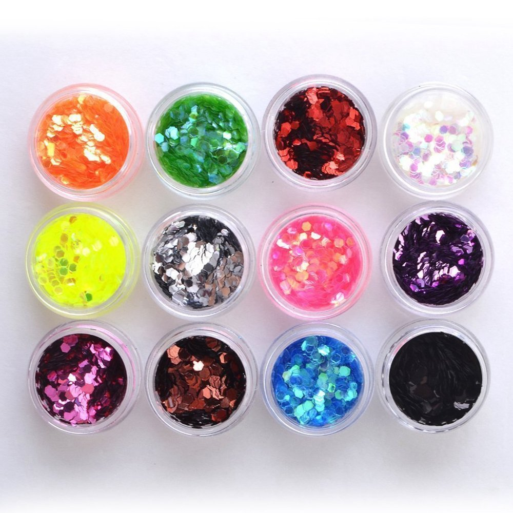 Bomien DIY 12 Color Nail Glitter Sequin, Acrylic UV Glitter Hexagon Gel False Nail Art Salon Tool Manicure Nail Decoration Spangle for Nail Art Tip Deco Crafts Project