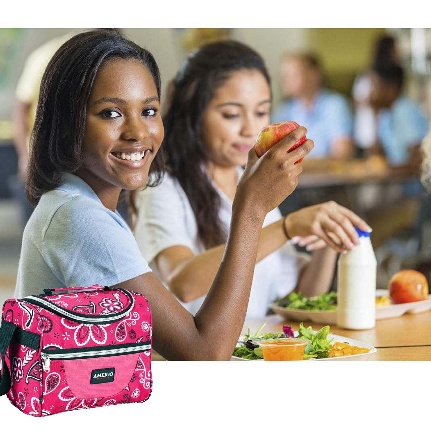 Insulated lunch bag for kids, AMERIO Lunch Box For Work Men, Women, Smooth Zipper& Lightweight, Small Lunch Box for Grils with Adjustable Strap (Pink)