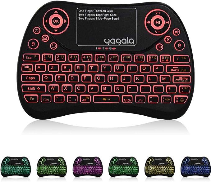 YAGALA Mini teclado retroiluminado de 2.4GHz (AZERTY) Ergonómico con pantalla táctil Touchpad para Android TV Box, Smart TV, Mini PC, HTPC, computadora - Versión en francés: Amazon.es: Informática