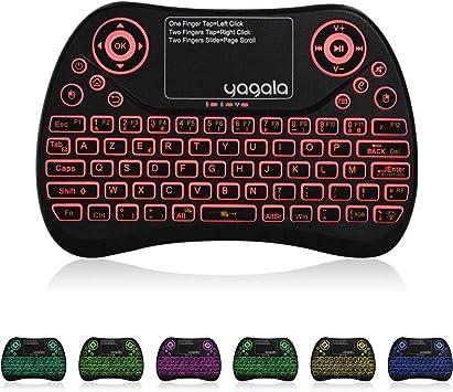 YAGALA Mini teclado retroiluminado de 2.4GHz (AZERTY) Ergonómico con pantalla táctil Touchpad para Android TV Box, Smart TV, Mini PC, HTPC, ...