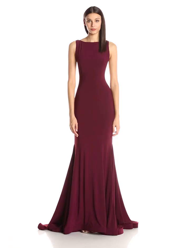 Jovani Womens Burgundy Low Back Dress At Amazon Womens Clothing Store