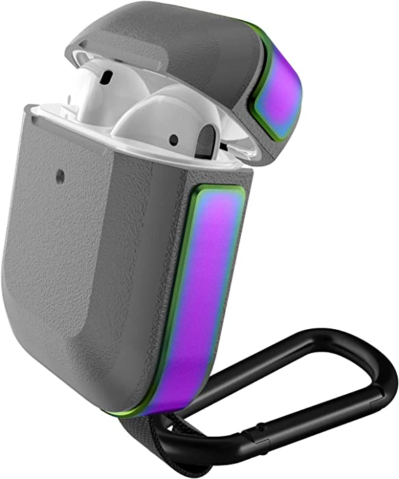 Defense Trek, Apple AirPods 1 & 2 Case, Real Machined Aluminum and Polycarbonate Protective Case for Apple AirPods 1 & 2, (Iridescent)