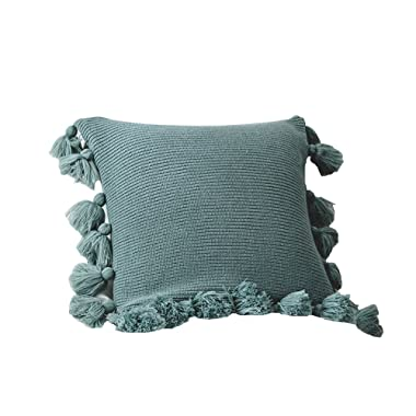 DOKOT Knit Boho Pillow Covers, Handwoven Decorative Throw Pillow Covers with Pompoms Tassels, 18x18 inches, Turquoise