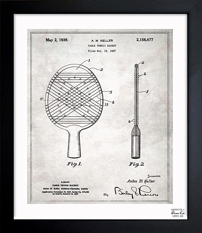 Amazon.com: Table Tennis Racket 1939 Vintage Framed Wall ...