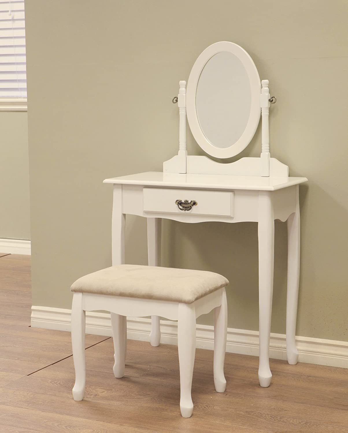 Amazon.com: Frenchi Home Furnishing Wood 3-Piece Vanity Set, White ...