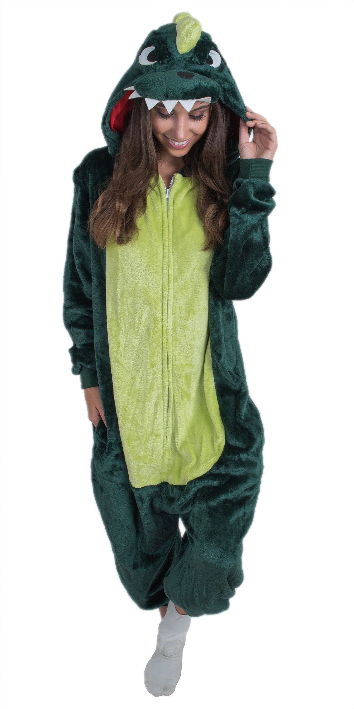 Bad Bear Brand Adult Onesie Dinosaur Animal Pajamas Comfortable Costume With Zipper and Pockets (Large, Green Plush)