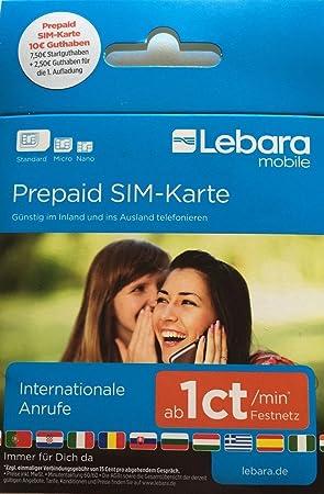 Lebara-Mobile - Tarjeta SIM de prepago con 7,50 euros de prepago y ...
