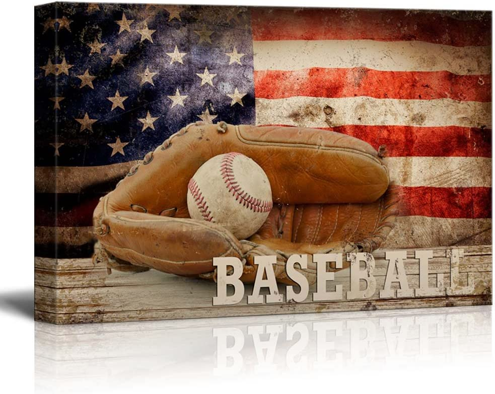 wall26 - Baseball Americana - Patriotic Ball and Glove Sport Grunge Flag - Canvas Art Home Art - 16x24 inches