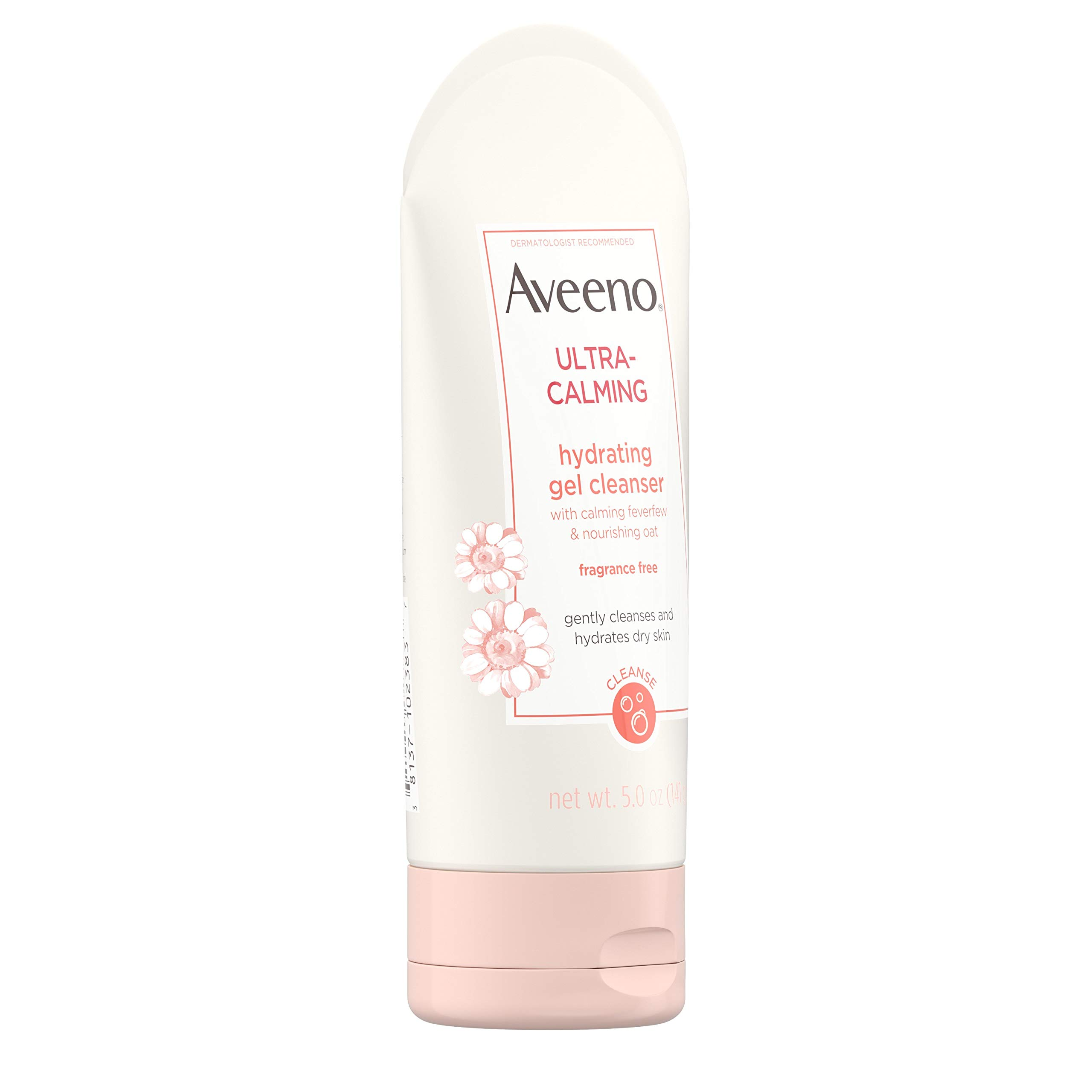 Aveeno Ultra-Calming Hydrating Gel Facial Cleanser with Calming Feverfew and Nourishing Oat, Face Wash for Dry and Sensitive Skin, Fragrance-Free and Non-Comedogenic, 5 oz
