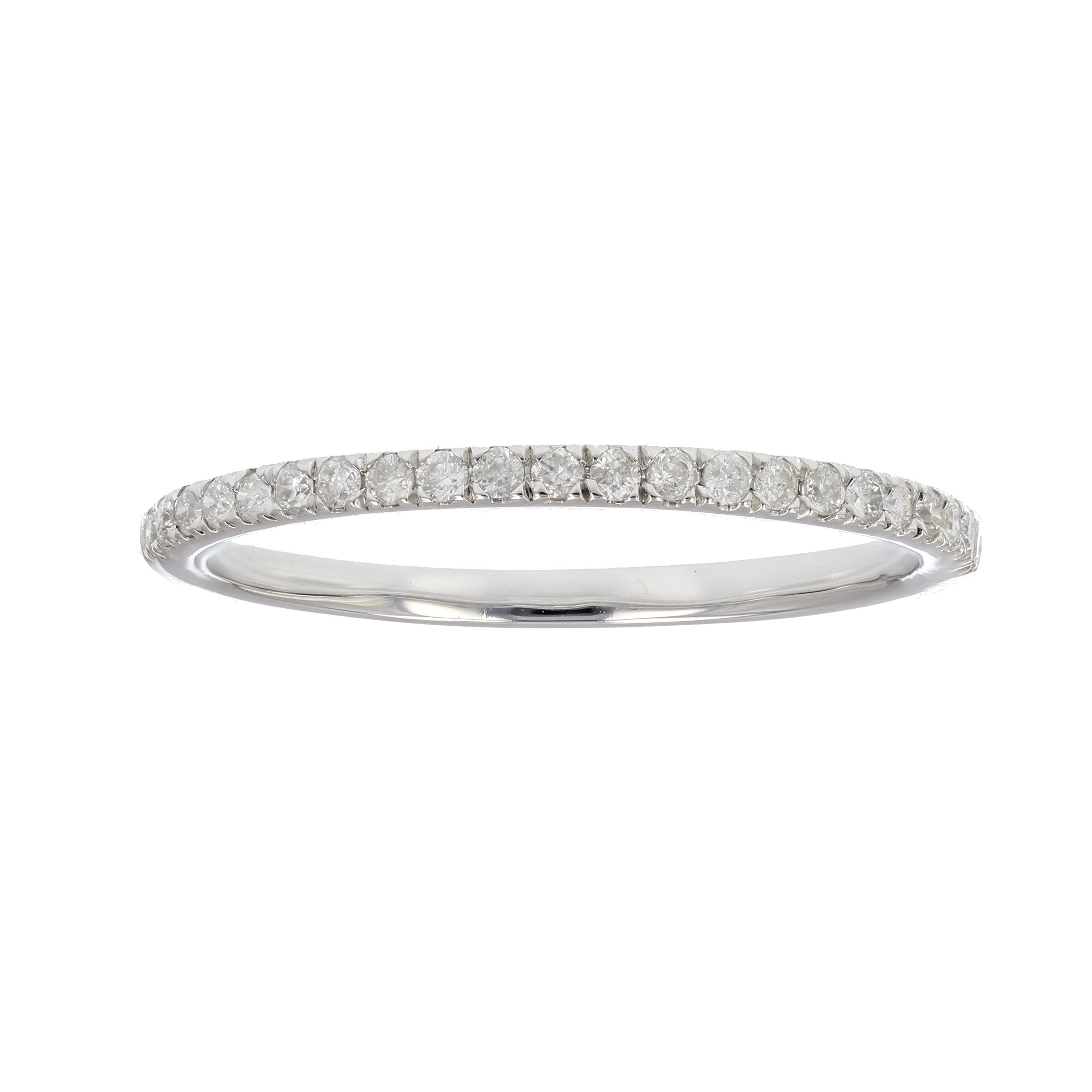 1/6 ctw Pave Diamond Wedding Band in 10K White Gold In Size 5 by Vir Jewels