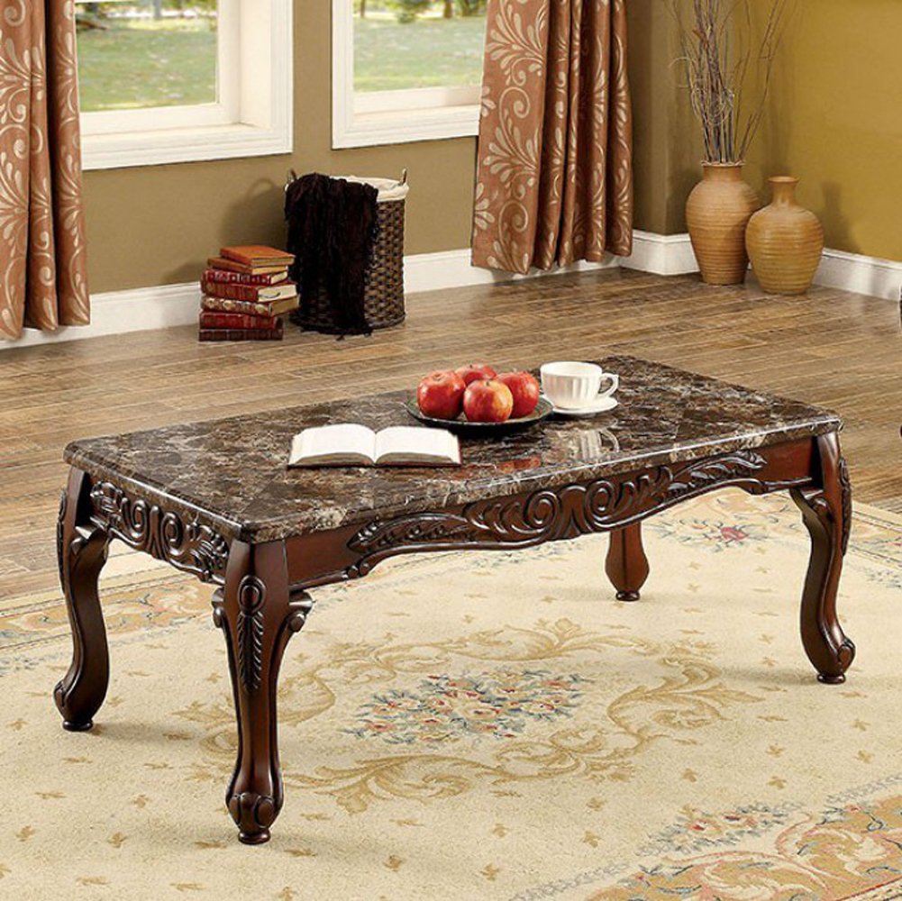 Traditional Style Coffee Table Set With 30Mm Faux Marble Top, Brown Cherry