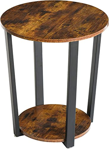 YMYNY Industrial End Table, 2 Tier Round Side Table with Sturdy Metal Frame, Vintage Nightstand for Living Room, Bedroom, Easy Assembly, Rustic Brown UTMJ020H