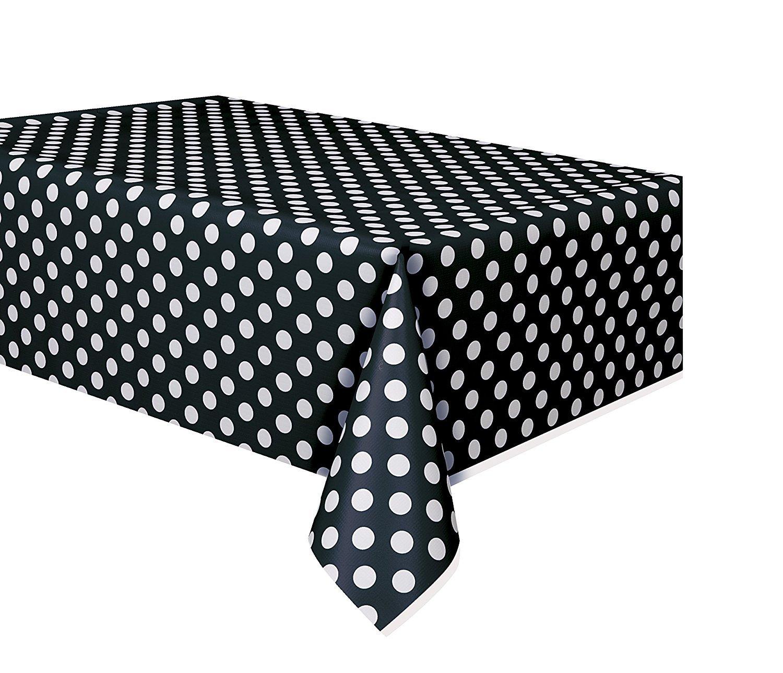 ロイヤル54 x 108スポットプラスチックテーブル布、プラスチックパーティーテーブルカバー、再利用可能なプラスチックテーブルクロス、使い捨て長方形ドットテーブルカバー ブラック B074GFLSN7 ブラック|4 ブラック