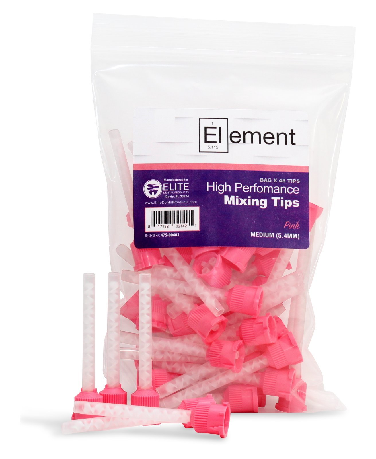 ELEMENT HP PINK VPS Mixing Tips 5.4 mm Impression 48/PK Genuine Mixpac