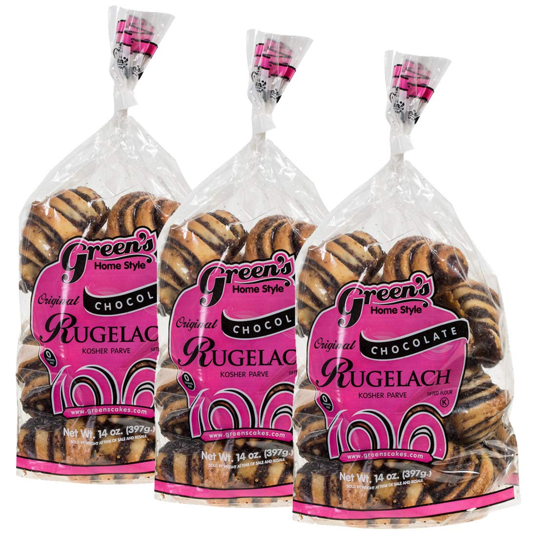 Green's Bakery Chocolate Rugelach Kosher Pastry, 14 oz - 3 Pack