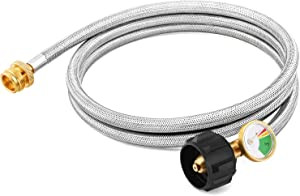 Kohree 6 FT Propane Adapter Hose with Gauge, 1lb to 20lb Stainless Braided Propane Tank Hose Converter for Propane Stove, Tabletop Grill and 1lb Portable Appliance