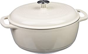 AmazonBasics Enameled Cast Iron Covered Dutch Oven, 6-Quart, White