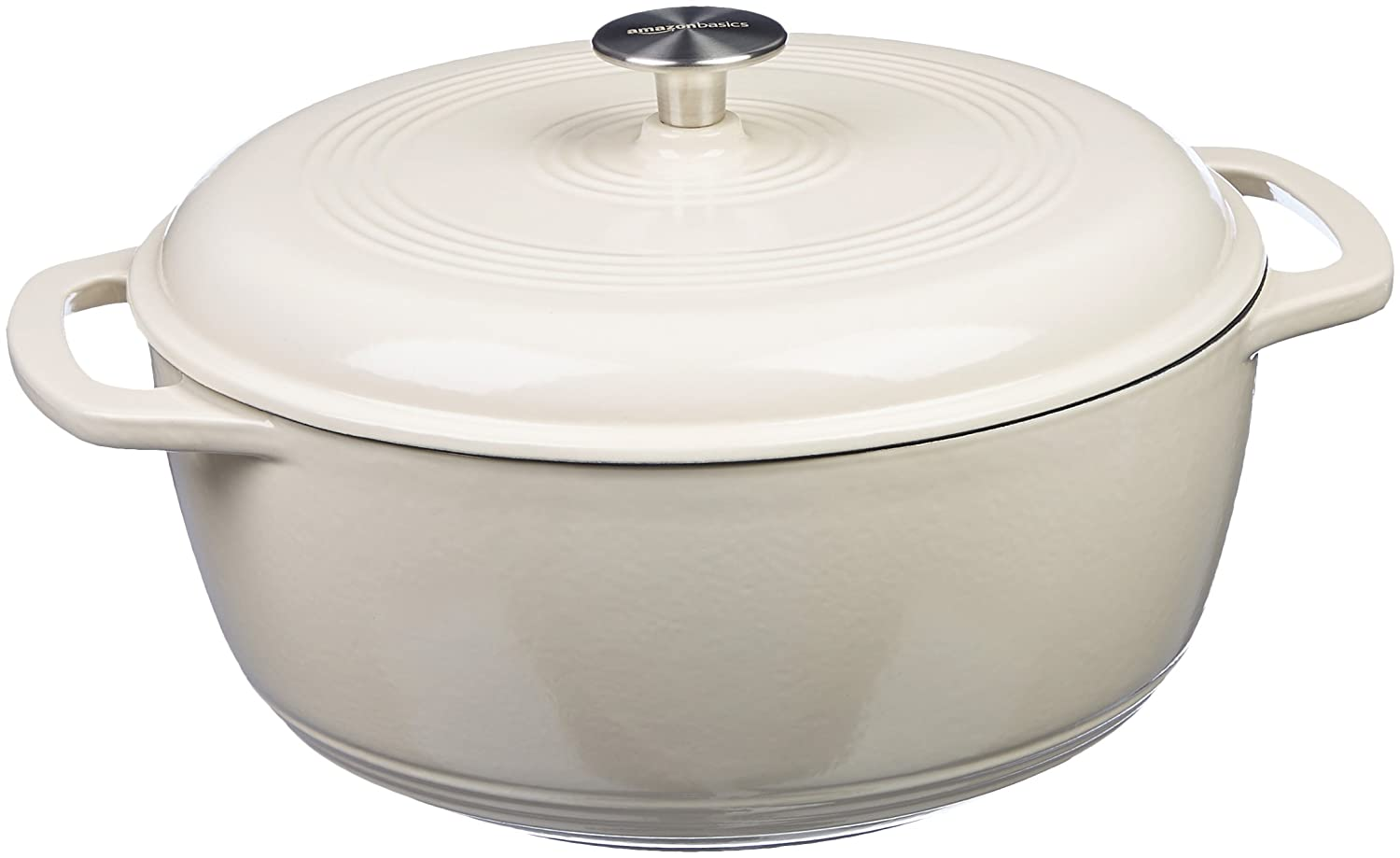 AmazonBasics Enameled Cast Iron Dutch Oven - 7.5-Quart, White