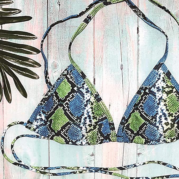Bikini, Internet_Mujer Estampado de Serpiente Sujetador Beachwear ...
