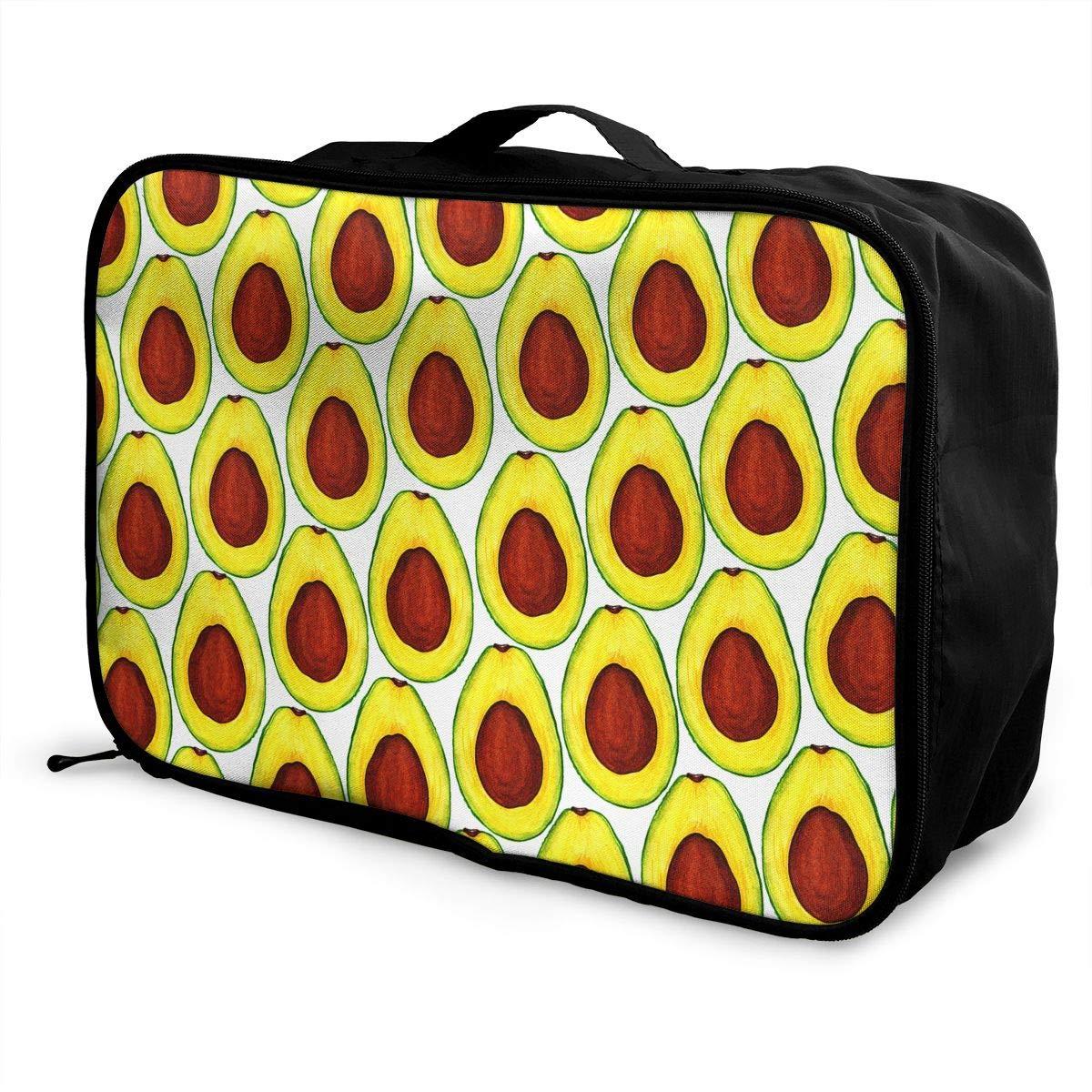 Travel Luggage Duffle Bag Lightweight Portable Handbag Avocados Yellow Pattern Large Capacity Waterproof Foldable Storage Tote