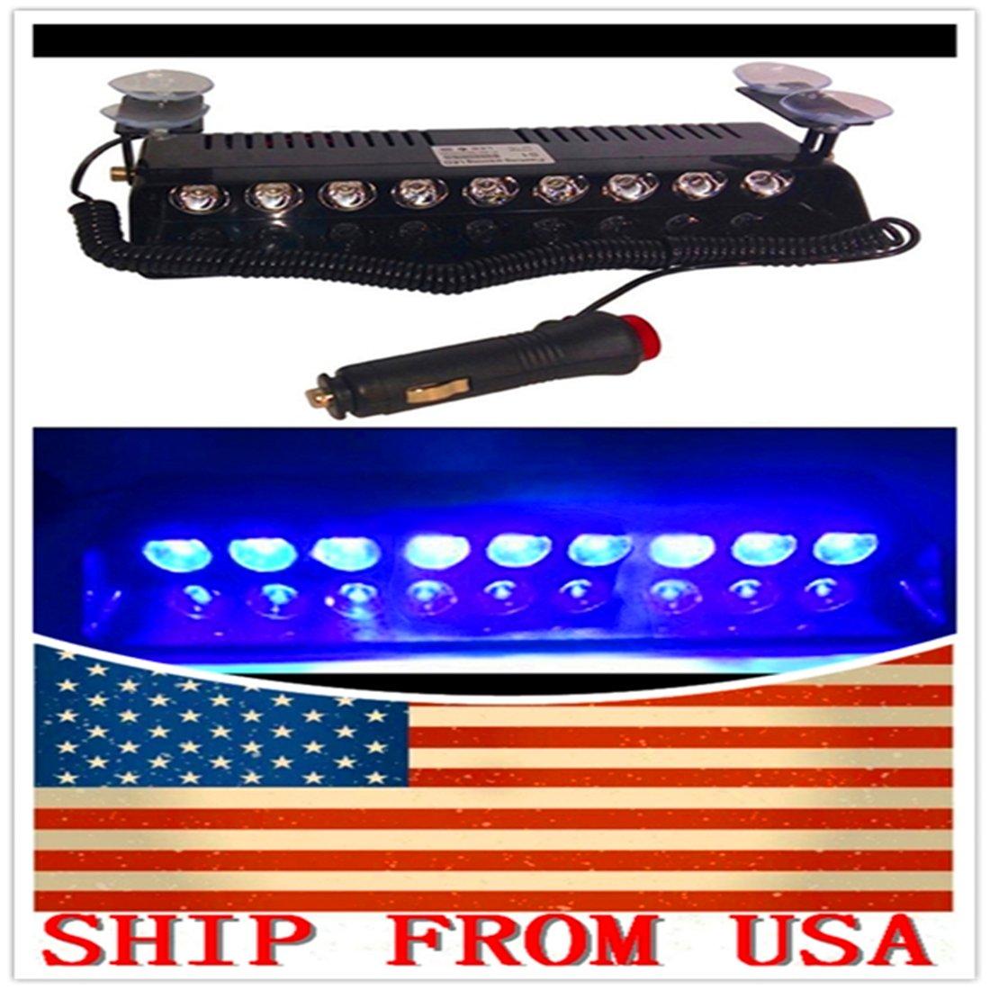 1Pc GQE Led Warning Lamp 9Bulbs Car Emergency Police Firemen Dash Flashing Beacon Bright Auto Strobe Light 12V Blue