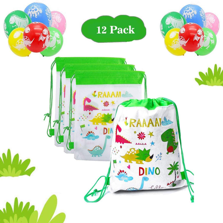 12 Pcs Mochilas Dinosaurio,12 Pcs Dinosaurs Balloons, Bolsas con Cordón Mochila Party Bolsas Tela no Tejida Escolar Hombro Mochila de Viaje Bolsa de Baile Gimnasio para Adolescentes Niños niñas Cumple