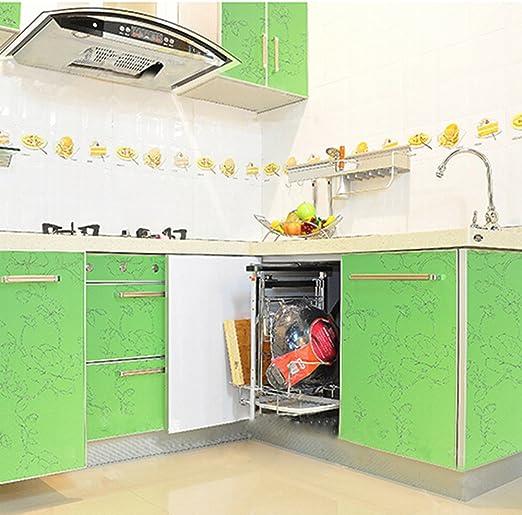 Yazi papel pintado autoadhesivo adhesivo privacidad puerta corredera para casa cocina decoración verde Peony 61 x 250 cm: Amazon.es: Hogar