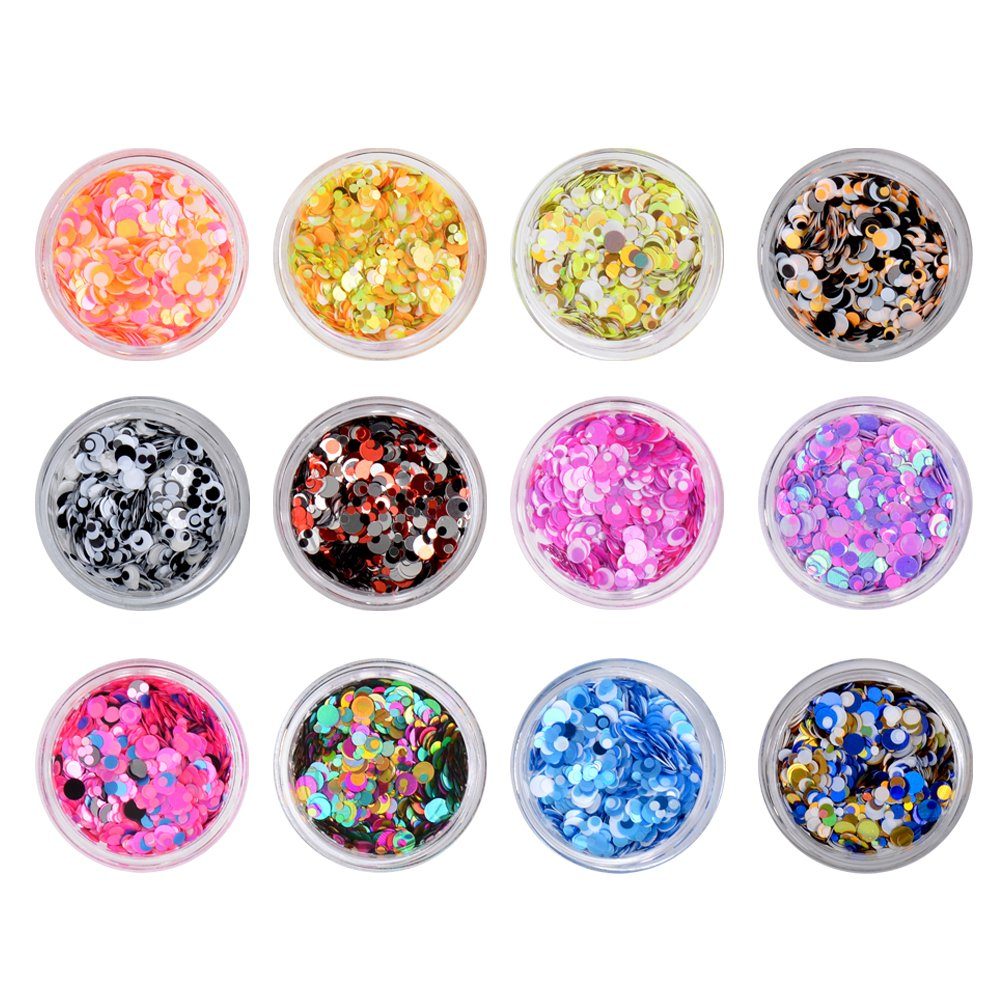 Fengshangmei 12 Colors Small Round Glitter Holographic Laser Paillettes Mix Colors Sequins For Nail art decoration (C4) Zhejiang fashion cosmetics