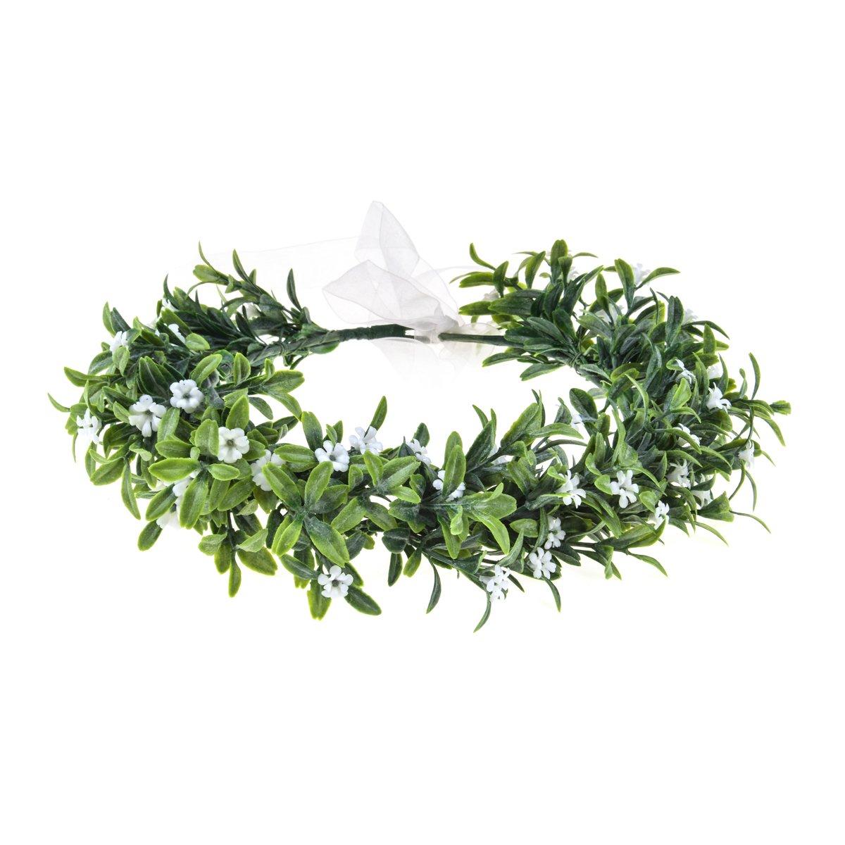 Love Sweety Baby's Breath Flower Crown Bohemian Bridal Grass Headband Succulent Eucalyptus Halo (Leaf White)