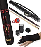 "IgnatGames 2-Pieces Pool Cue Stick - 18/19/20/21 oz. 58"" Canadian Maple Professional Billiard Pool Cues Sticks with Hard Case, 3 in 1 Pool Stick Tip Tool, 3 Finger Glove and Chalk Holder"