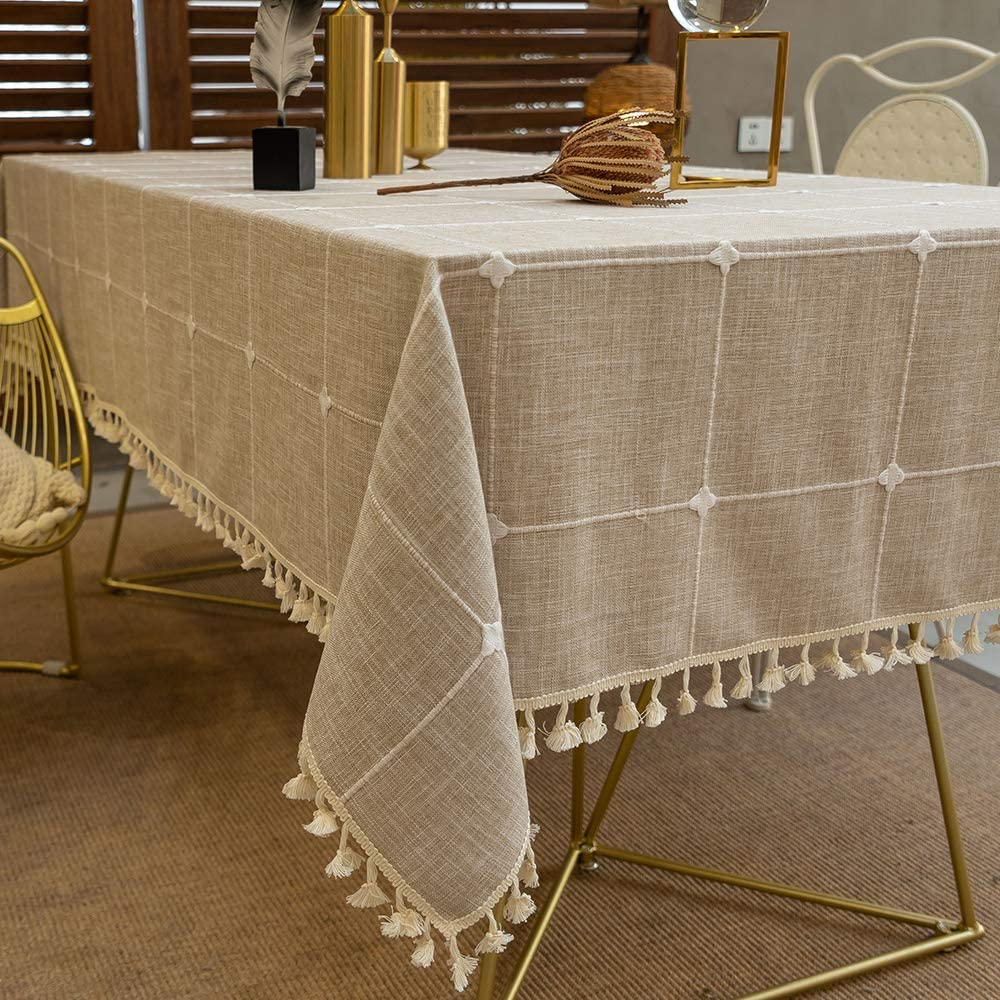 TEWENE Tablecloth, Rectangle Table Cloth Cotton Linen Wrinkle Free Anti-Fading Checkered Embroidery Tablecloths Dust-Proof for Kitchen Dining Party(Rectangle/Oblong, 55''x86'',6-8 Seats, Light Brown)