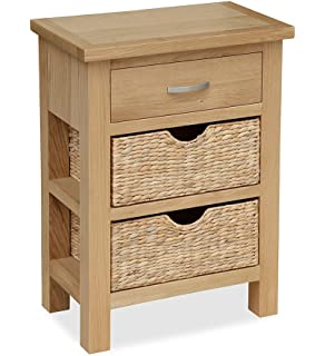 London Oak Console Table with Baskets Hall Table Storage Amazon