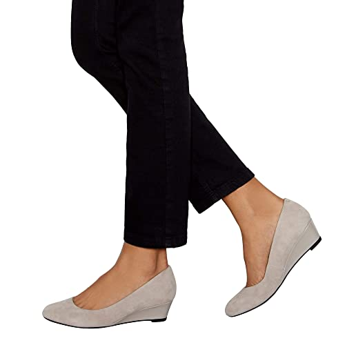 3eae2420853 Good for the Sole Light Grey Suede  Ledge  Wedge Heel Wide Fit Court Shoes